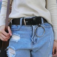 Belts 1PC Women's Belt Round Buckle Female Leisure Jeans Wild Without Pin Metal Brown Leather Black Strap