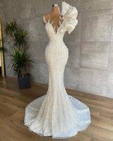 2022 Luxury Mermaid Wedding Dresses For Bride Lace Beading vestidos de novia Civil Sheer Neck Bridal Gowns Sweep Train