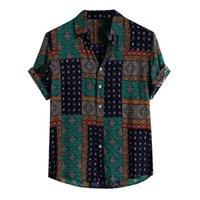 Camicie casual da uomo Abbigliamento uomo 2021 European American Retro American Shirt Stampa a maniche corte Hawaiian Shirt Fashion Camisas Para Hombre