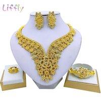Earrings & Necklace Liffly Bridal Fashion Dubai Jewelry Sets Gold Wedding Flower Bracelet Ring Women Costume Set