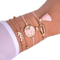 Handgemachte Schmuck Großhandel Legierung Quaste Shell Schmuck Set Öl Drop Karte Armband Armband Multi-Piece Armband