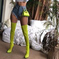 Neón de moda sobre las sandalias de la rodilla Botas de malla de las mujeres Sandalias de verano transparentes con tacones masivos altos botas largas. Xz-059