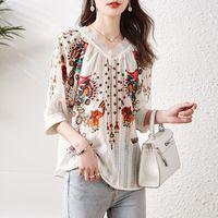 Women's Blouses & Shirts V-neck Lace Stitching Chiffon Shirt Women 2021 Summer Loose Print Top Blusas De Moda Sexys