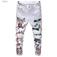 Jeans Slim Stretch Printed Casual White Straight Hip Hop Pants Men Fit Trousers