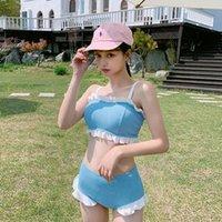 Women's Swimwear High Waist Split Blue Ruffle Sling Swimsuit Swim Suit Japanese Beachwear 2 Piece Women Bathing Bikini Set