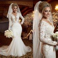 2022 Lace Mermaid Wedding Dresses Bridal Gown Scoop Neck Illusion Top Beaded Pearls Crystals Tulle Sweep Train Custom Made Plus Size vestido de novia