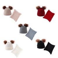 Caps & Hats Toddler Baby Knitting Scarf Fashion Winter Solid Color Cap Autumn Fall Cute Balls Cartoon Accessories Two Piece Sets