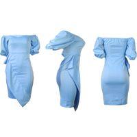 2020 Dress Dress Elegante Abito manica Lanterna Elegante Moda Solid Color Boat Neck Ruffle Skinny Mid-length daita di sera