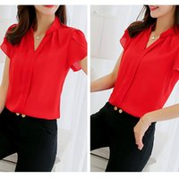Ladies Short Sleeve Top Chiffon Casual Elegant Formal Office Pure Color Fashion High Quality Blouse Women's Blouses & Shirts