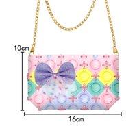 Assemble Diy Girls Kawaii Style Messenger Bag Pop It Purse Fidget Toys Simple Dimple Bubbles Chain Bags Zero Wallet Soft Rubber Bubble Music Handbag