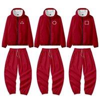 Calamar juego rojo chaqueta pantalones redondo seis hombres mujeres disfraces de halloween cosplay deportes cremallera cardigan impresión digital bolsillo Sudaderas Set H1012