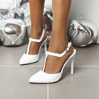 Sianie Tianie 2021 Summer Woman Scarpe Bianco Rosso T-Strap Sexy Party Dance Heels High Sandali Donne Plus Size 44 45 46