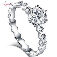 Кластерные кольца Colorfish 925 Стерлингового серебра Круглая форма Moissanite Lovinghome Rhombus Allbuse Обручальная свадьба