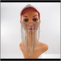 Autres cheveux Drop Livraison 2021 Femmes Rock Sier Couleur Head Bijoux Unique Design Long Crystal Tassel Multi-couches Masque Face Masque Chaînes Bijoux1 IQ8