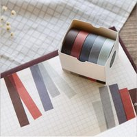 adhesive tape school supply cool sticker 5pcs set 10mm*5M Solid color paper tape DIY decorative scrapbook stationery office 2016 EWF9143