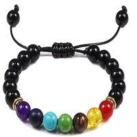 7 chakra armband männer schwarz lava tiger augen steine heilung balance perlen reiki buddha gebet natürlich stein yoga armbänder bangles1 788 q2