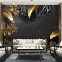 Wallpapers Nordic Tropical Black Wallpaper For Living Room Gold Leaves Noble TV Sofa Background Wall Papers Home Decor Mural 3D