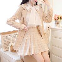 Moda 2 Parça Set Mizaç Gömlek Coat Pileli Mini Etek Kariyer Takım Elbise Femme Roupas Ekose İki Kadın 210506