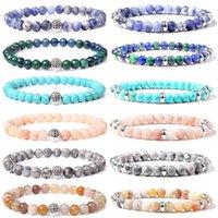 Lucky Sier Color Craft Charm Bangle Men Handmade Elastic Jewelry Natural 6 Mm Sodium Reiki Energy Stone Bead Bracelets Women
