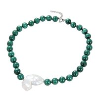GuaiGuai Jewelry Natural 12mm Genuine Round Green Malachite White Keshi Pearl chokers Necklace Handmade For Women Real Gems Stone Lady Fashion Jewellery