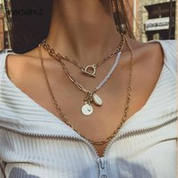 IngeSight.Z Multi Layered Toggle Lasso Choker Necklaces Natural Shell Cowrie Round Sequins Pendant For Women Jewelry Chains
