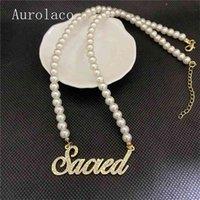 Aurolaco Kundenspezifischer Name Personalisierte Pearl Gold Anhänger Typenschild Halskette für Frauen Schmuck Geschenk