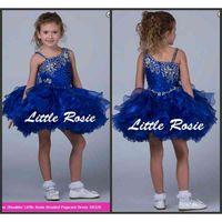 2021 Yeni Balo Kraliyet Mavi Organze Kızlar Cupcake Bebek Pageant Elbiseler Özel Çiçek Kız Elbise Ucuz Satış