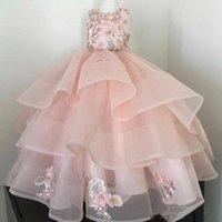 Girl's Dresses Retro Flower Girl Applique Fluffy Tulle For Weddings Pretty Tiered Kids First Communion Lovely Little Pageant Dress