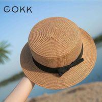 Şapka cokk-sombrero panam basit verano playa gayri resmi para Mujer, corbata lazo con bor plano, sombrero de paja