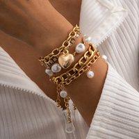 تقليد اللؤلؤ سوار خمر الباروك مزاج الصغرى الماس القلب مجموعة المرأة شخصية الأزياء والمجوهرات هدية