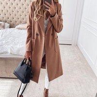 Women's Trench Coats Office Lady Elegant Coat Fashion Women Solid Color Pocket Slim Outerwear 2021 Lapel Blazer Commuter Long Woman Clothing