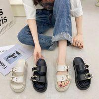 Slippers 2021 Summer Fashion Women Sandals Outdoor Female Slides Chunky Wedges Shoes High Heels Chain Design Flat Platform