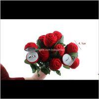 Cajas Empaquetado Drop Entrega 2021 Creative Rose Flower Boda Joyería Caja de joyería de novia Anillo Pendiente Colgante Pantalla Red Regalo Case Ho