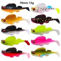 Misto 10 colore 70 millimetri 13g maschere di pesca Ganci ami amo singolo molle del silicone Esche esche Pesca Attrezzatura di pesca Accessori
