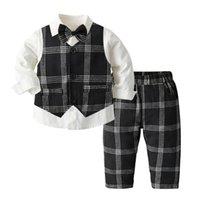 Fall Baby Boys Party Ropa Conjuntos de ropa para niños para niños Camisa de manga larga para niños + Black Plaid Chalecos Outwear + Pantalones de celosía 3pcs Ropa de rendimiento para niños A7210