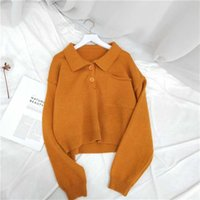 EBAIHUI Autumn Polo Pullover Sweater Women Loose Turn Down Collar Outerwear Soft Solid Short Knit Sweaters Top 211022