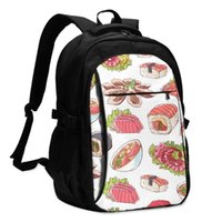 Backpack Bags School Famous Japanese Cuisine Dishes With Octopus Oysters Tuna Nigiri Sushi Roll USB Charge Computer Laptop Back Pack