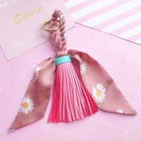 10Pieces Lot High Quality Fashion Scarves Key Chan Ribbon Bowknot Exquisite PU Leather Tassels Keychains Women Bag Charm Pendant