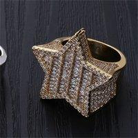 18K Oro Gold Gold Mens Luxury Bling Cubic Zirconia Pentagram Anillo Banda Iced Out Rapper Jewelry Regalos para Boyfriend 1051 Q2