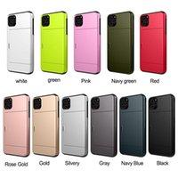 2 in 1 Porta carte da diapositiva Cassa del telefono 2 in 1 copertina posteriore Copertura antiurto ultra-sottile per iPhone XS XR S9 S10