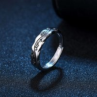 Chinese style open old ring men women single domineering tail retro Thai silver trend personality jewelry with box Band