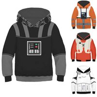 Kids War Of Star Black Knight Vader Hooded Luke Fancy Clothes White Storm Trooper 3D Print Costumes New Movie Role Set G0917