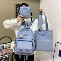 School Bags 4 Pcs Set Casual Teenager Girl Bag Solid Color Men Women Backpack Cute Student Canvas Shoulder Children Crossbody