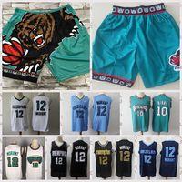 2021 Düşük Fiyatlı Erkekler Retro Basketbol Jersey Mike 10 Bibby JA 12 Ahlaki Vintage Nefes Şort Boyutu S-2XL Mavi Beyaz Siyah Kırmızı