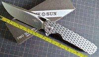 TwoSun Camping Outdoor M390 Titanium Flipper Folding Knife TS328