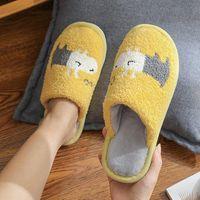 Womens Slippers Winter Warm House Cartoon Dog Non-slip Plush Shoes Women Mens Lovers Home Bedroom Cute Female Cotton Fur Slides