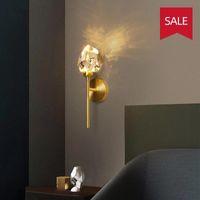 Modern LED Crystal Wall Light All Copper Nordic Gold Lamp for Bedroom Living Room Corridor Home Decor Lighting Fixture