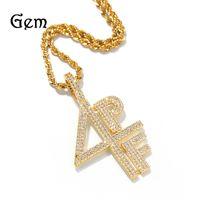 Ouro prata banhado a colar de pingente 4pf gelado fora laboratório de diamante número de carta dj rapper jóias rua rua cadeia 740 t2