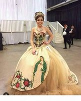 2021 Printed Pattern Embroidered Quinceanera Dress Champagne Beaded Strapless Lace-up Satin Sweet 15 Dress Charro Mexico Theme Prom Gowns