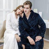 Nigneur de nuit corail molleton kimono peignoir robe de peignage amoureux vêtements de nuit vêtements de nuit femmes chaude épaissie longue chemise de nuit lâche vêtements maison